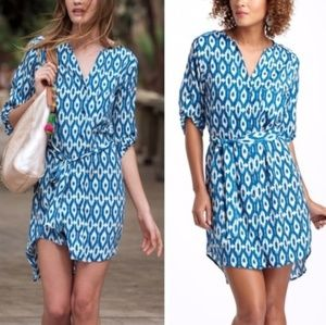 Anthropologie Maeve Ikat Frequencies Shirtdress